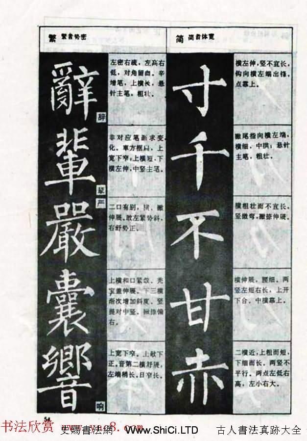 柳體書法教程《柳公權楷書結構》