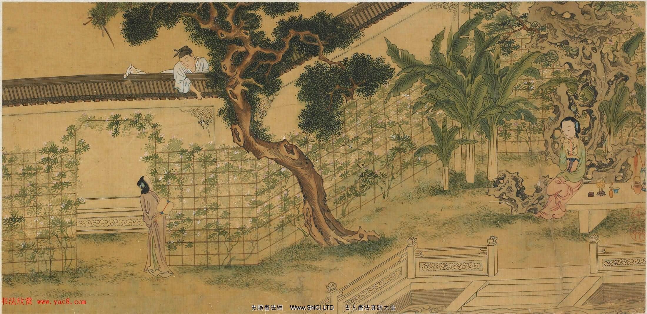 仇英款西廂記圖八頁美國弗利爾美術館藏(共8張圖片)