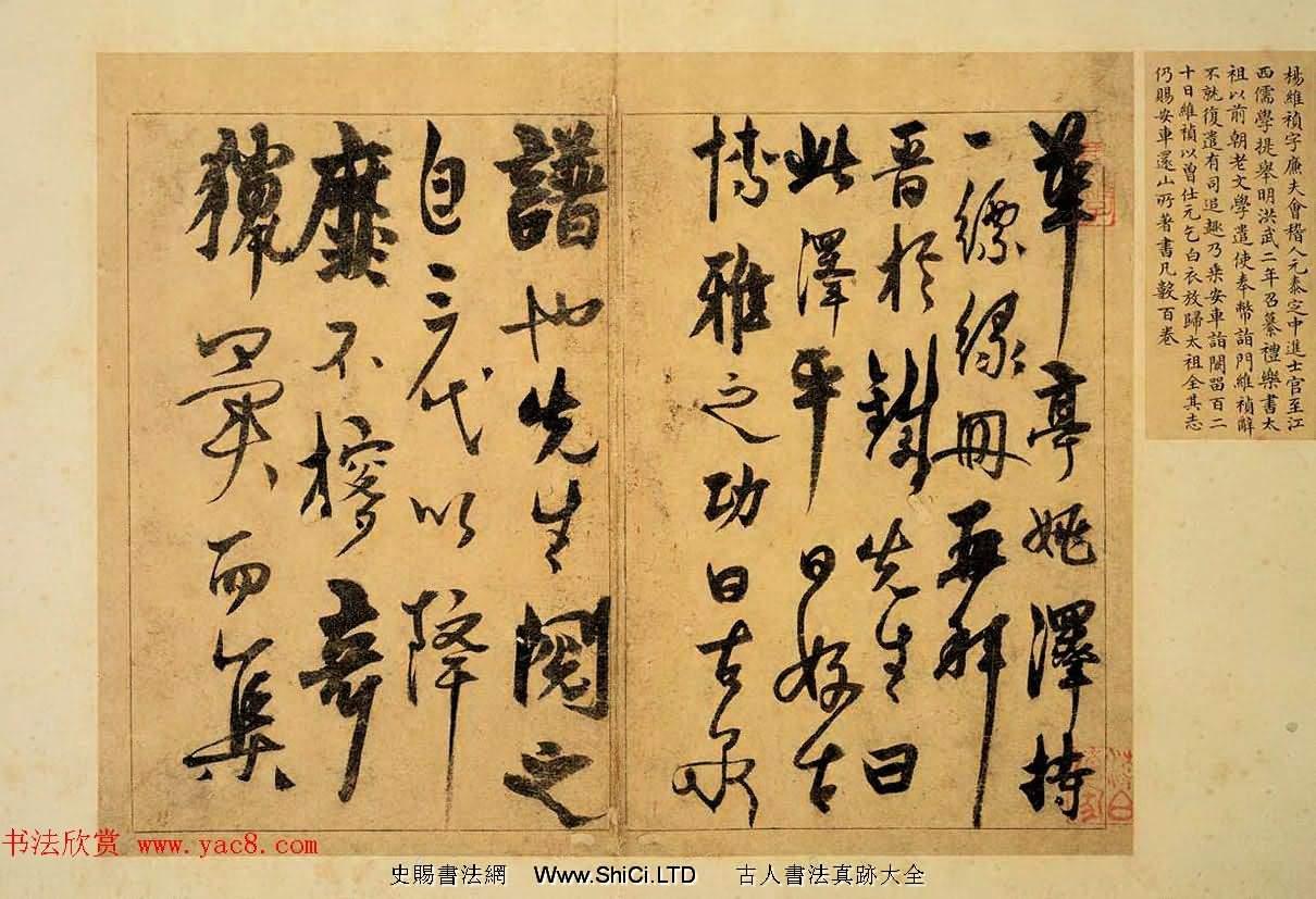 楊維楨晚年精品草書賞析《題古泉錢譜冊》(共7張圖片)