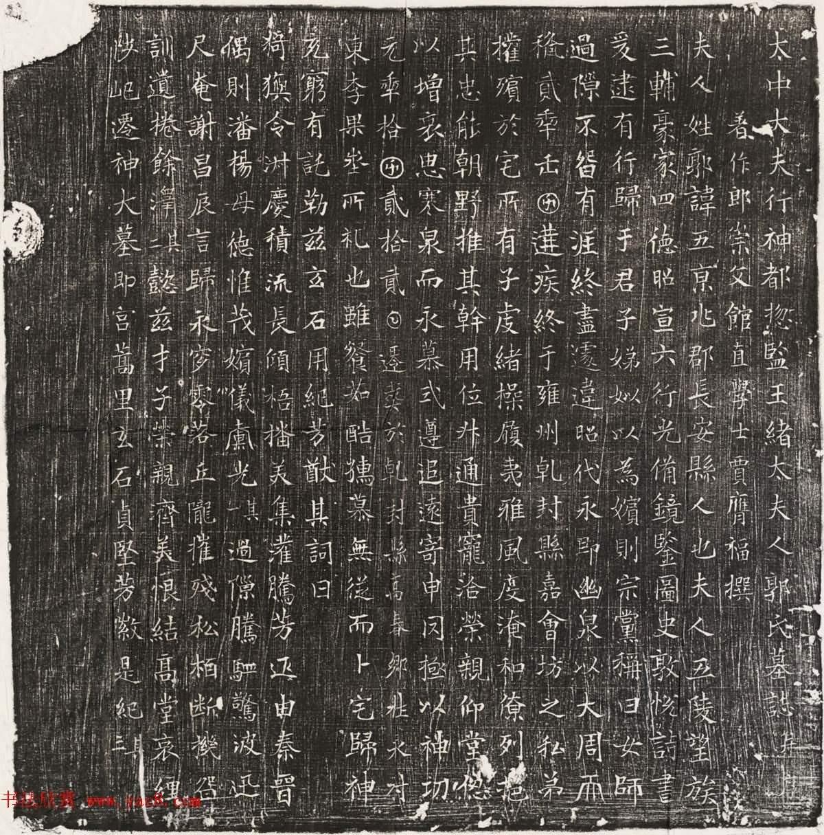 唐代楷書石刻欣賞《王緒母郭五夫人墓誌並蓋》