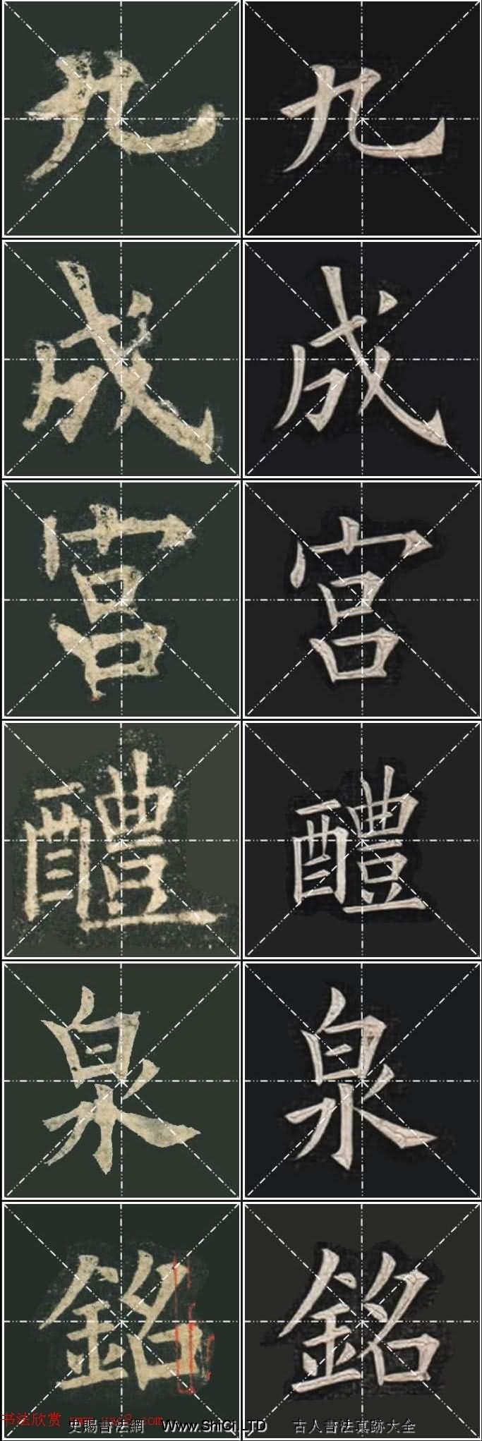 《歐楷九成宮》姚孟起臨本與李琪藏本對照字帖(共188張圖片)