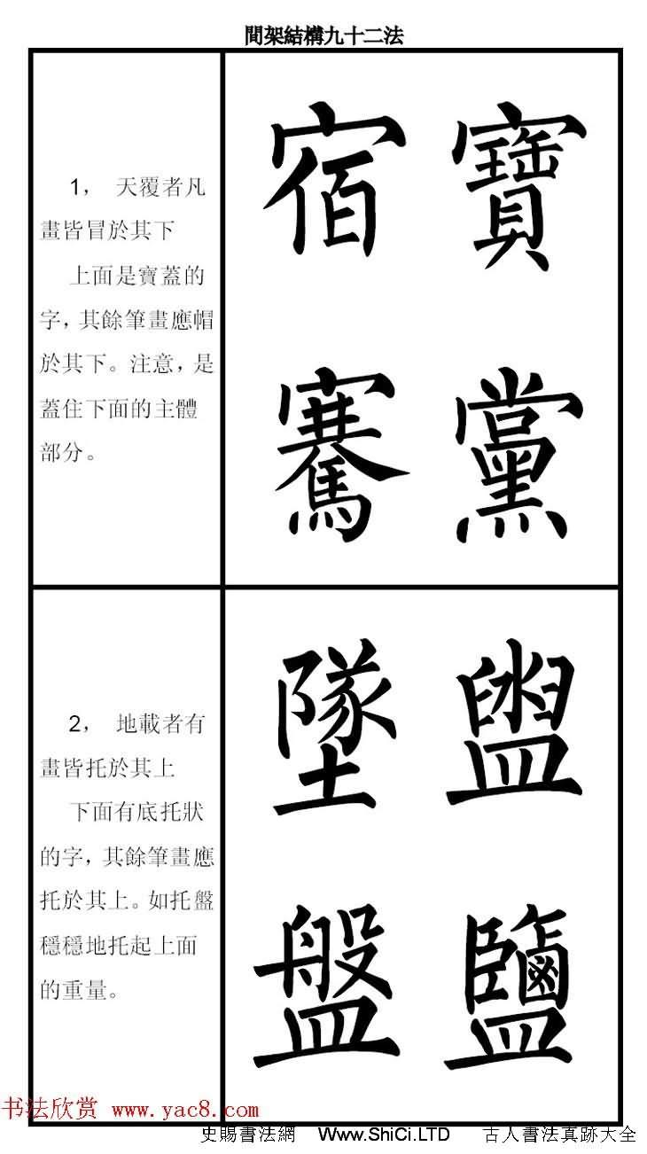 柳體字帖《柳公權楷書間架結構九十二法》(共46張圖片)