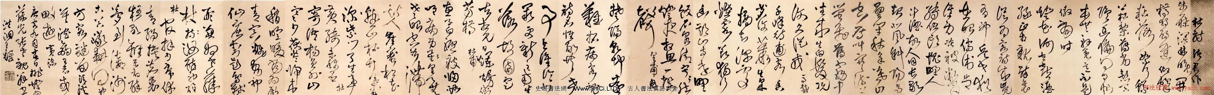 王鐸草書真跡欣賞《為葆光張老親翁書》詩卷(共14張圖片)