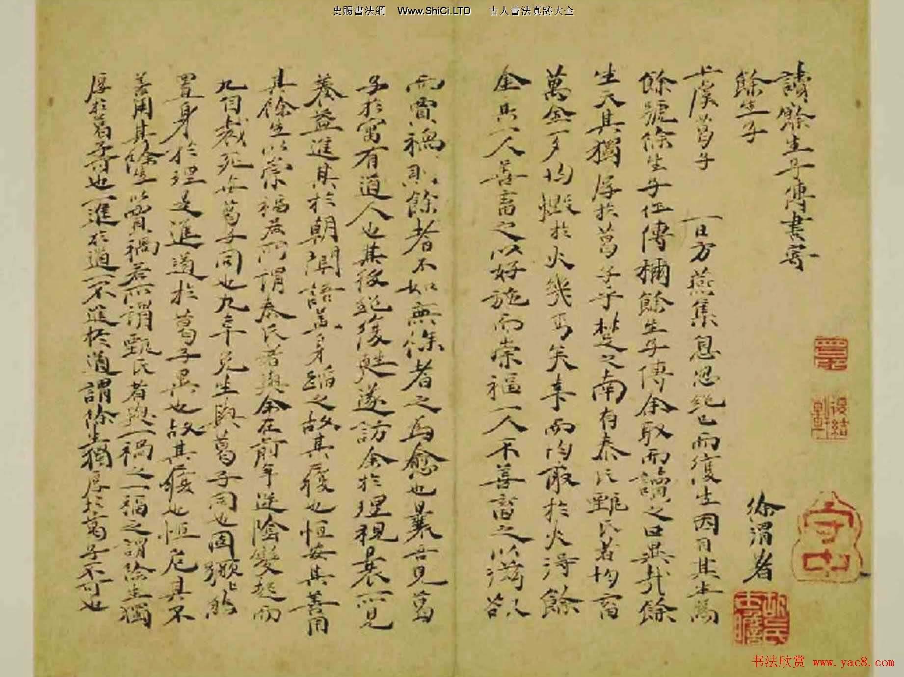 明代書畫家徐渭《自書詩文》冊(共14張圖片)